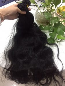 FLAT TIP #1B VIETNAM HUMAN HAIR NATURAL WAVY COLOR 1B