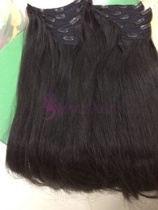 30 inches Clip In Straight Hair Extensions Natural black color