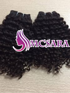 Vietnam remy hair machine weft, deep curly color 1b