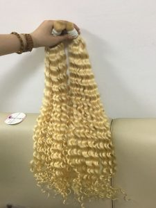 VIETNAM REMY BULK HAIR DEEP WAVY BLONDE AND BLACK COLOR