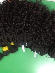DOUBLE DRAWN HAIR BULK OLD CURLY HAIR COLOR #1B 16 inches