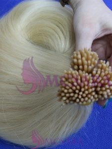 I tip straight double drawn hair extensions blonde color