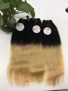 16 inches weaves Straight hair extensions ombre color