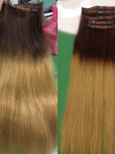 Clip in Straight hair extensions 22 inches ombre color