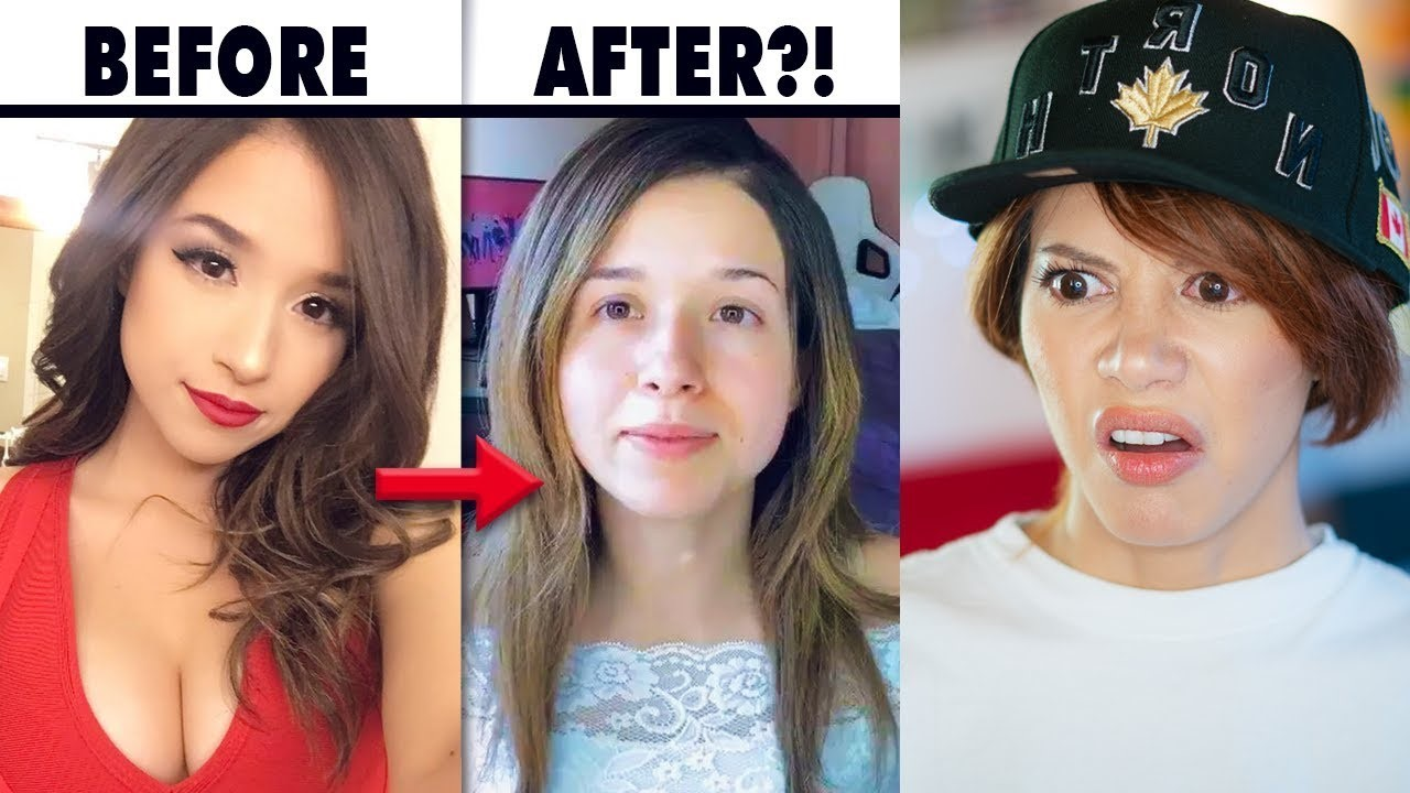 Pokimane makeup before after