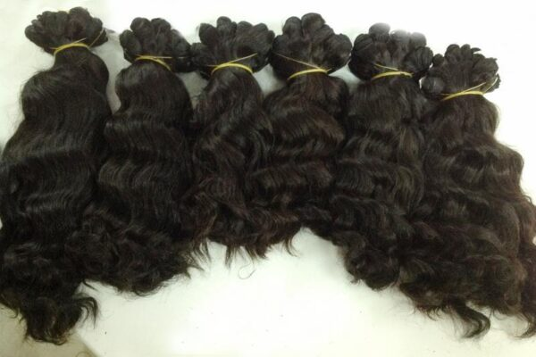 Double Drawn Machine Weft Hot Steam Wavy Hair Color 1b 121416